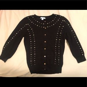 Black Button-Down Cardigan with Gold Studs. Small.